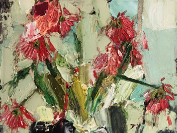 Mitchell Cheesman - Gerbera Daisies In Small Room - Painting - Curatorial+Co.