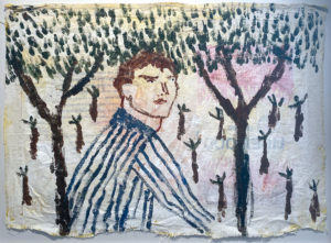 Darcy McCrae - Man in Striped Shirt - Work on paper